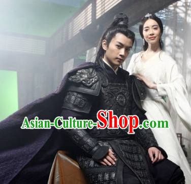 Chinese Knight Black Armor Helmet Costume Complete Set for Men