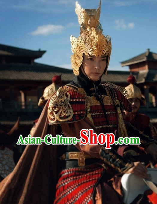 Chinese Female Knight Heroine Armor Helmet Suit Complete Set