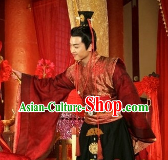 China Red Wedding Suit and Hair Accessories for Men