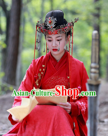 China Red Wedding Suit for Women and Hair Accessories