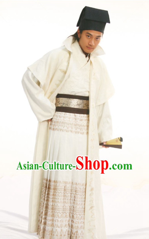 Chinese Royal Family Scholar Poet Hanfu Clothing and Hat for Men