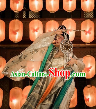Ancient Chinese Tang Beauty Classical Dancing Costume and Hair Accessories Complete Set