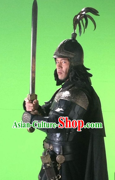 Ancient Chinese General Armor Uniform and Hat Complete Set