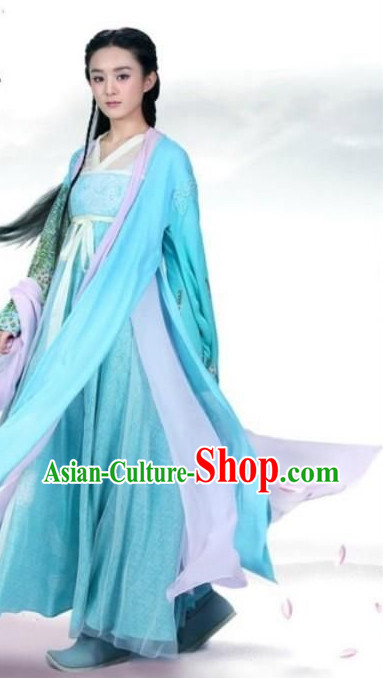 Blue Ancient Chinese Fairy Costumes for Girls