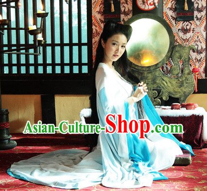 Wide Sleeves Chinese Empress Blue Beauty Clothes