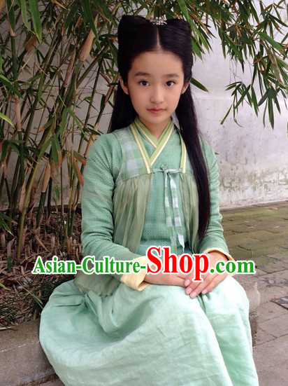 Traditional Chinese Mint Green Hanfu Outfit for Girs