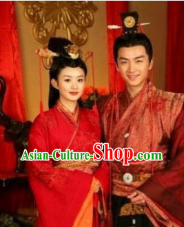 Chinese Classic Red Wedding Dresses Men and Women 2 Complete Sets