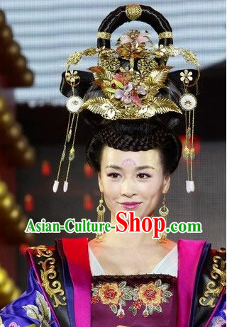 Chinese Classical Imperial Empress Phoenix Hair Accessories and Black Wig
