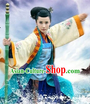 Chinese Famous Heroin Huang Rong Film Costumes Complete Set