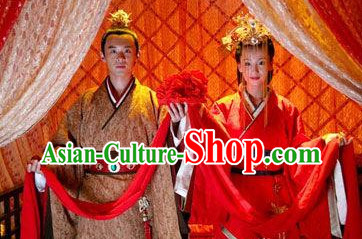 China Classical Red Wedding Clothes Film Costumes 2 Complete Sets