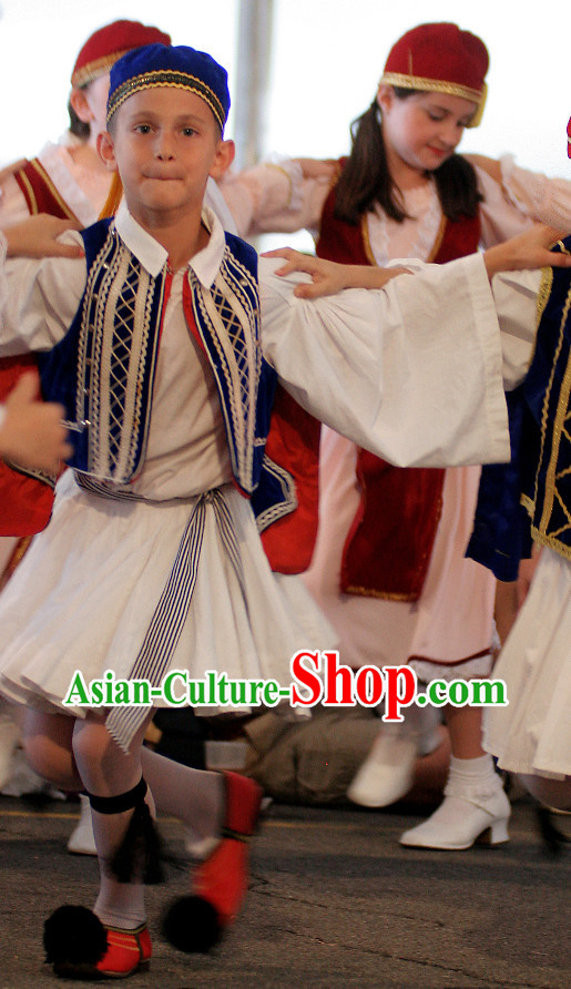 Traditional Greek National Costumes and Hat Complete Set for Kids