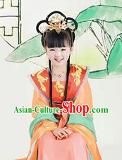 China Tang Princess Costumes and Headwear Complete Set for Girls