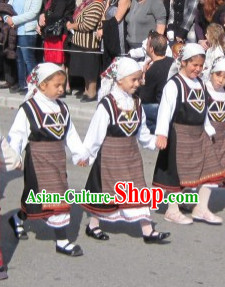 Traditional Greek National Clothes and Headwear Complete Set for Girls