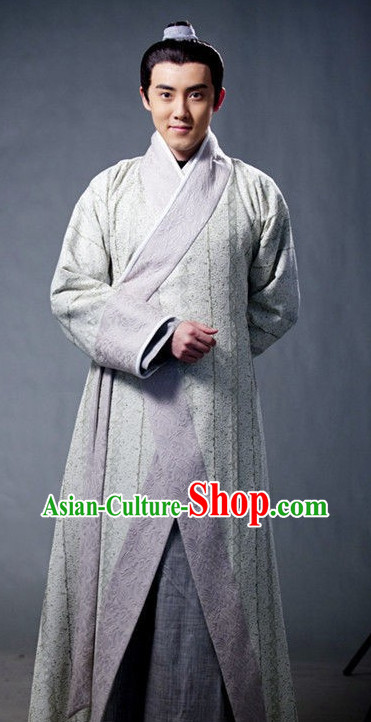 China Men Hanfu Chinese Traditional Dress and Headgear Complete Set for Men