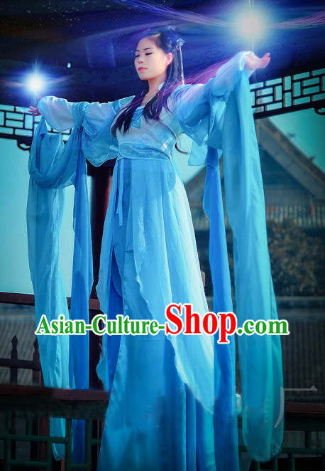 Ancient Chinese Blue Fairy Costumes Complete Set