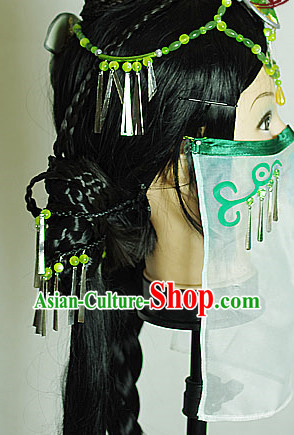 Asian Cosplay Oriental Mysterious Lady Face Veil and Accessories