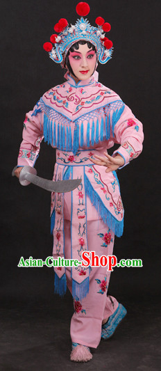 China Peking Opera Superheroine Pink Costumes