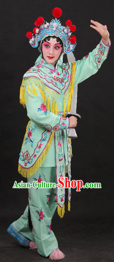 Light Green China Peking Opera Superheroine Costumes