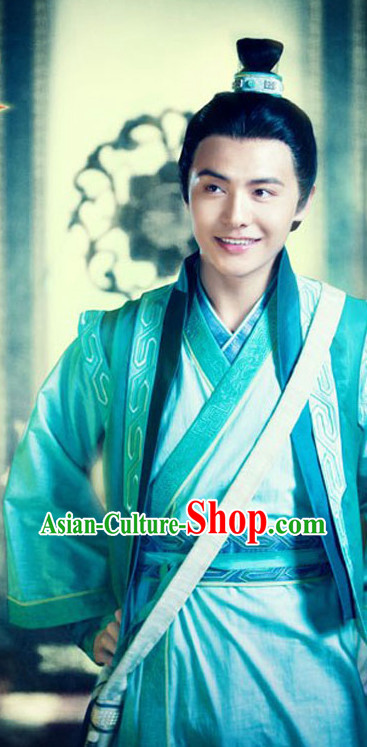 Asian Ancient Scholar Student Hanfu Dresses Complete Set