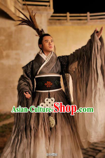 Asian Lord Stage Performance Costumes and Hat Complete Set for Men