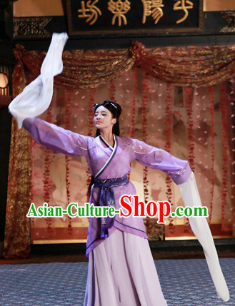 Asian China Han Dynasty Long Water Sleeve Hanfu Dance Costumes