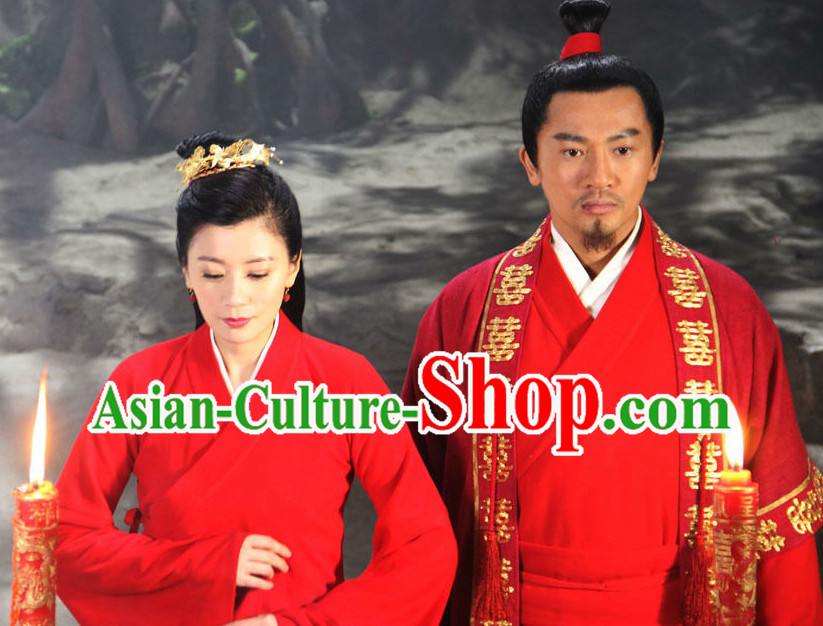 Chinese Red Wedding Dresses for Men and Women