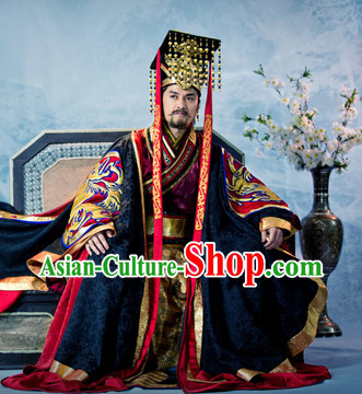 Ancient Traditional Emperor Dragon Robe and Crown Hat Complete Set