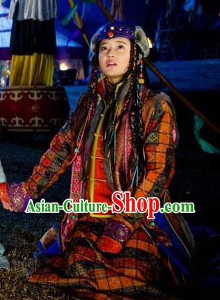 Traditional Mongolian Princess Robe Dresses and Hat