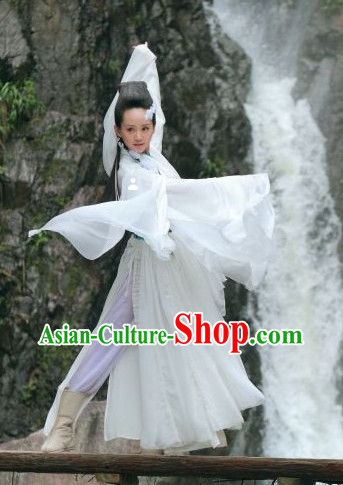 Chinese Classical Dancing Costume and Hair Accessories for Women or Girls
