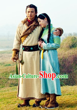 Traditional Mongolian Long Robe and Hat for Women