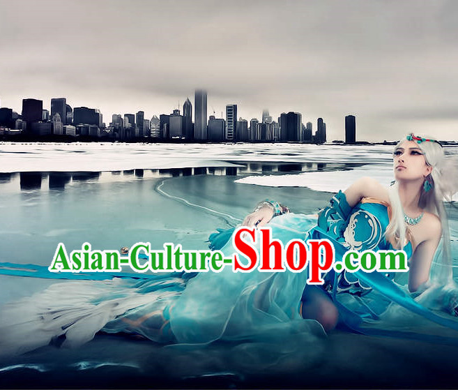 Asian Blue Eudemon Sexy Costumes for Women