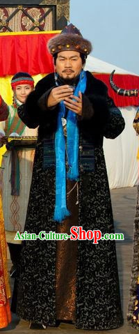 Qing Dynasty Mongolian Long Robe Clothes and Hat Complete Set