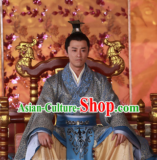 China Ancient Emperor Robe and Coronet for Men