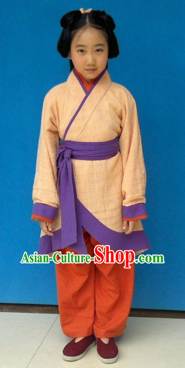 Chinese Classical Hanfu Suit and Belt for Kids