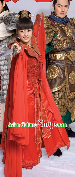 Red Chinese Stage Performance Classical Dancing Costumes for Women