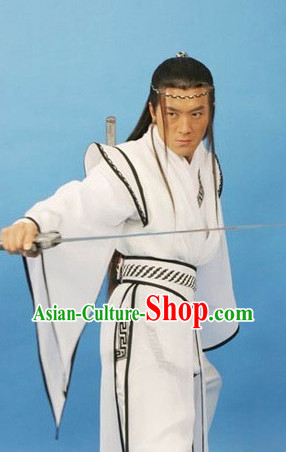 China Ancient White Film Costumes and Headwear for Men