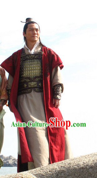 China Ancient General War Armor Costumes and Hat for Men