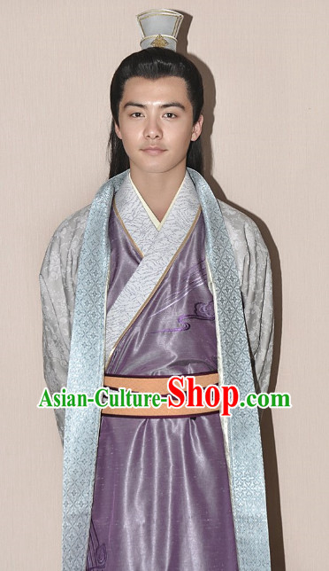 China Traditional Nobles Long Robe Clothing and Coronet for Men