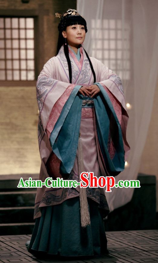 Chinese Princess Hanfu Costumes and Hair Jewelry