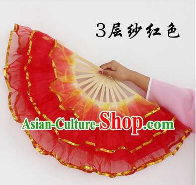 Three Layers Stage Dance Folding Fans