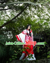 White and Red Asian Princess Dresses and Hair Accessories Complete Set