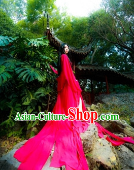 Long Tail Red Hanfu Cosplay Costumes Complete Set