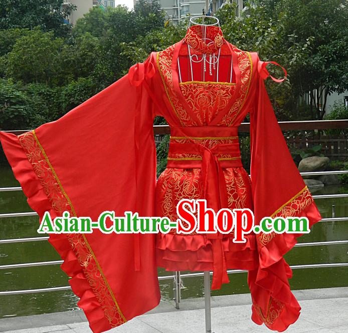 Red Chinese Anime Cosplay Costumes Complete Set