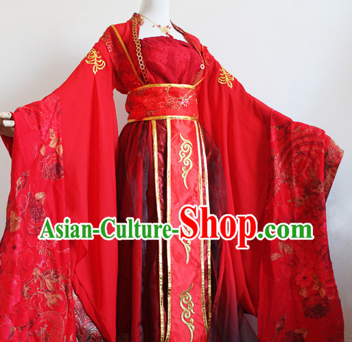 Red Chinese Classical Dancing Costumes