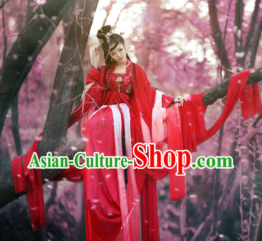 Chinese Classical Princess Red Wedding Dresses and Hair Accessories Complete Set