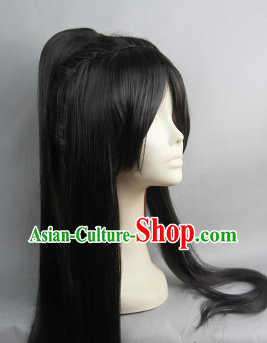 Chinese Gu Zhuang Black Hair Wigs