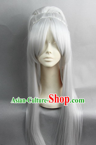 Chinese Gu Zhuang White Hair Wigs