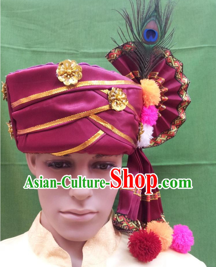 Asian Thailand Traditional Peacock Headwear for Men