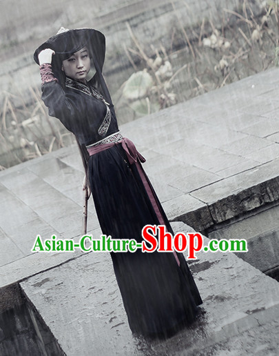 Chinese Traditional Black Hanfu for Women