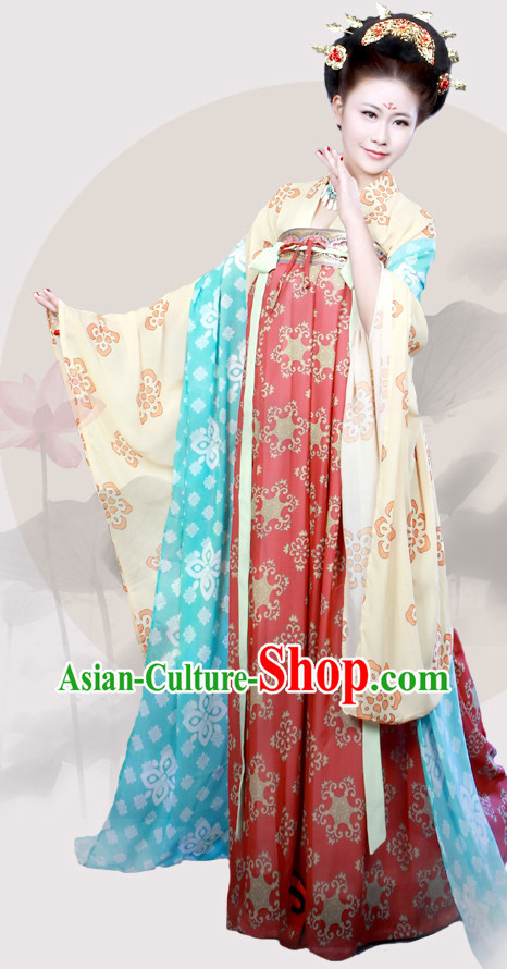 Chinese Traditional Tang Dynasty Hanfu Clothes with Wide Sleeves